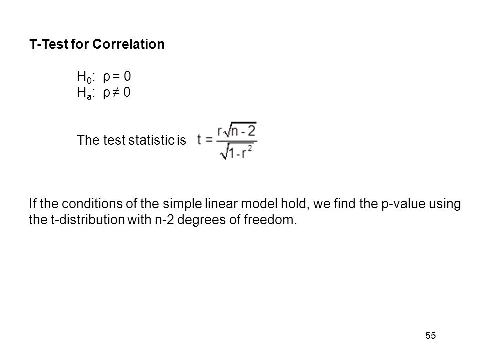 T-Test for Correlation