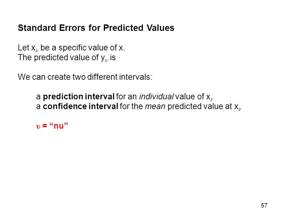 Standard Errors for Predicted Values