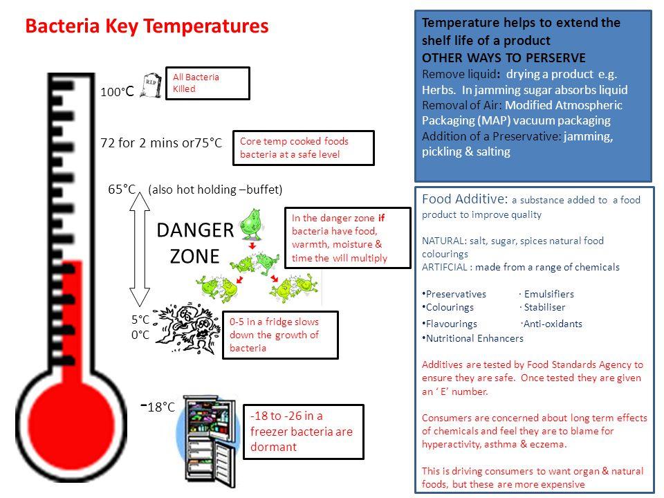 5°C 0°C Bacteria Key Temperatures DANGER ZONE -18°C