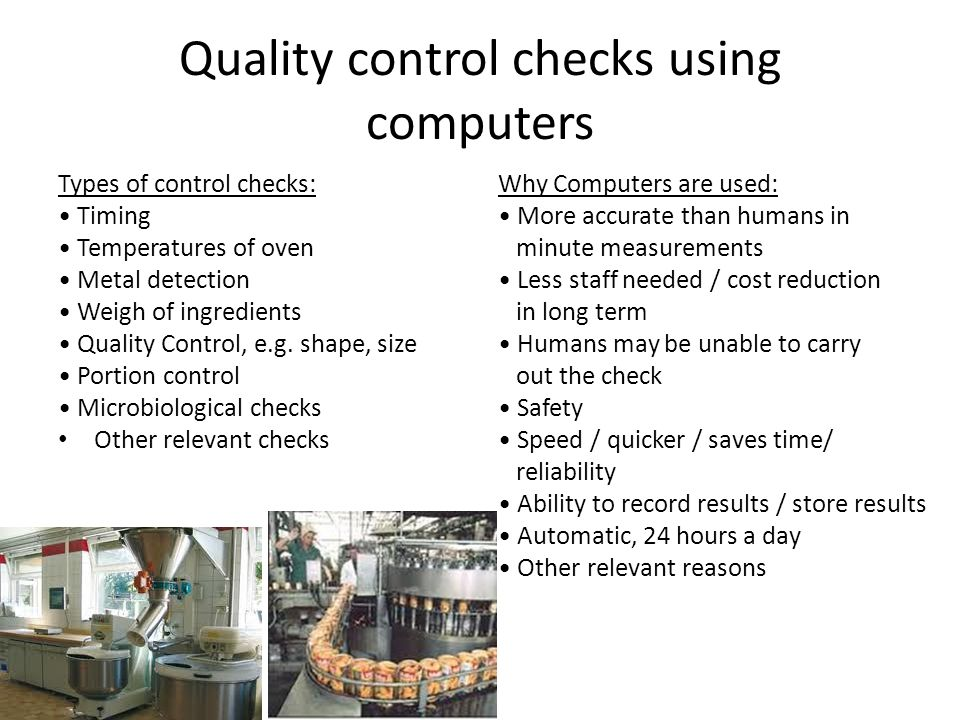 Quality control checks using computers