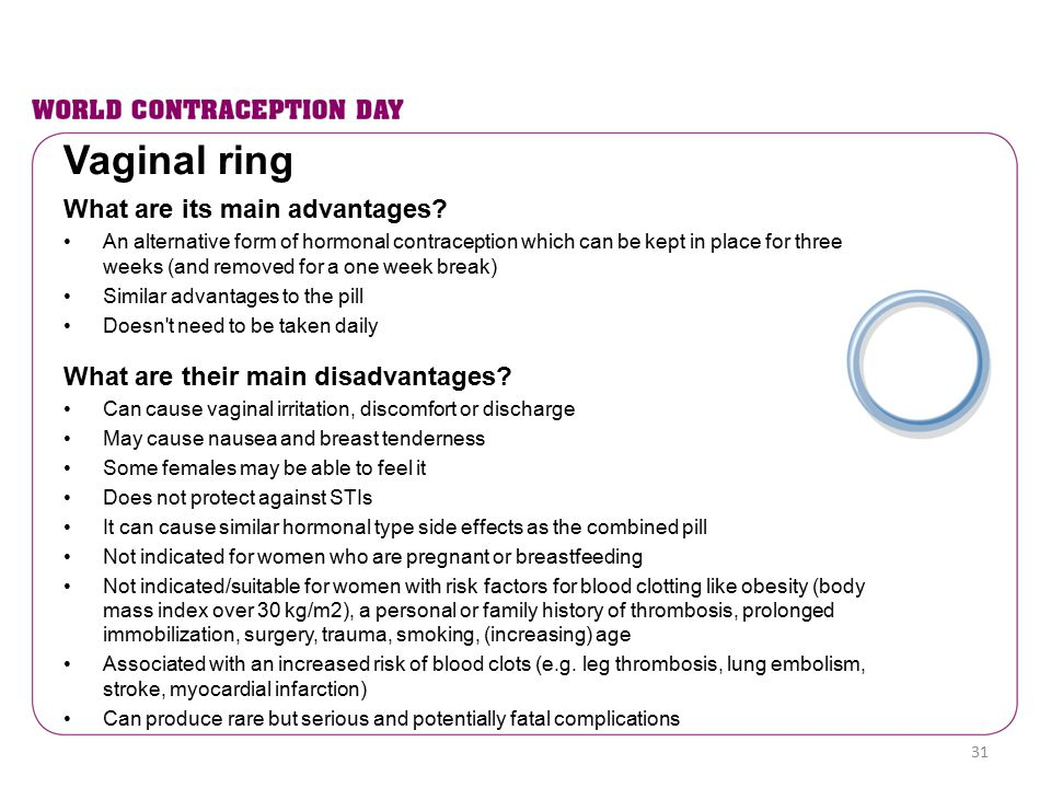 Vaginal ring What are its main advantages