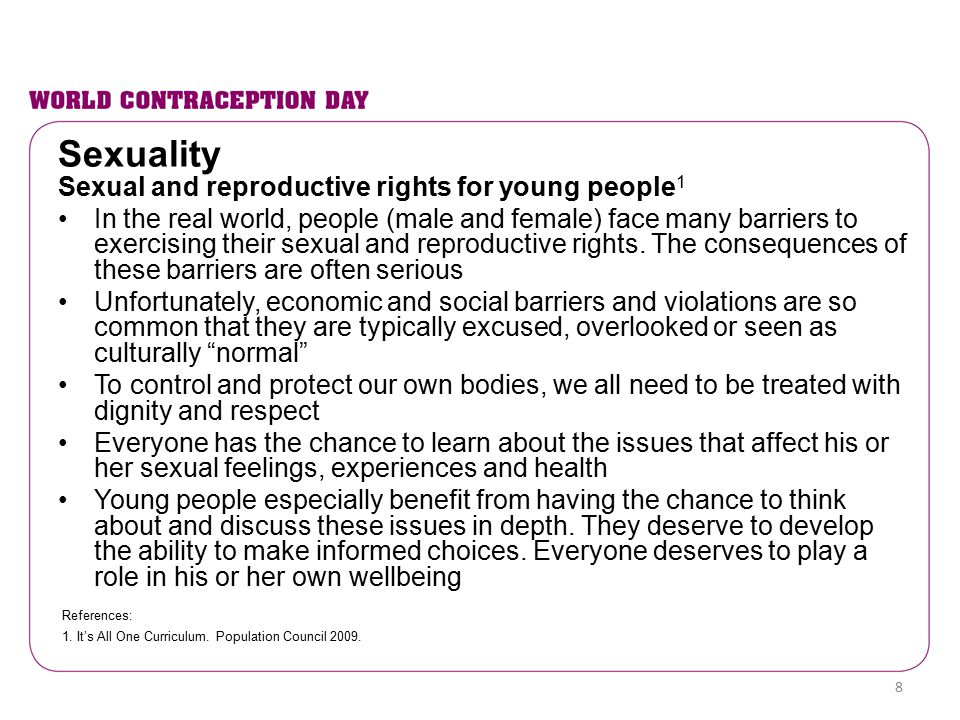 Sexuality Sexual and reproductive rights for young people1