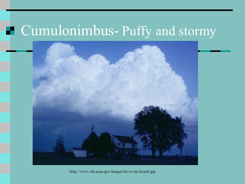 Cumulonimbus- Puffy and stormy