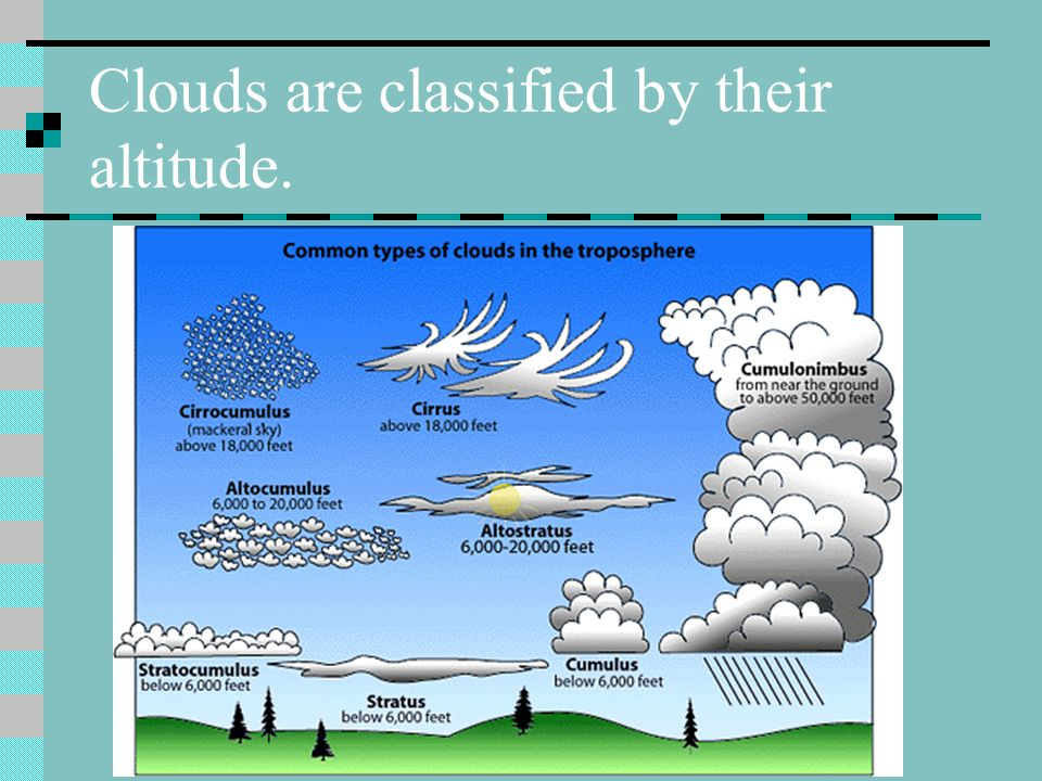 Clouds are classified by their altitude.