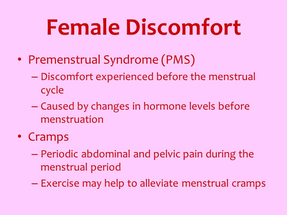 Female Discomfort Premenstrual Syndrome (PMS) Cramps