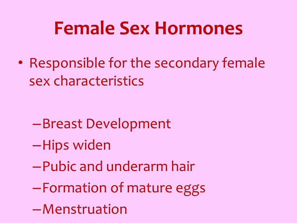 Female Sex Hormones Responsible for the secondary female sex characteristics. Breast Development. Hips widen.