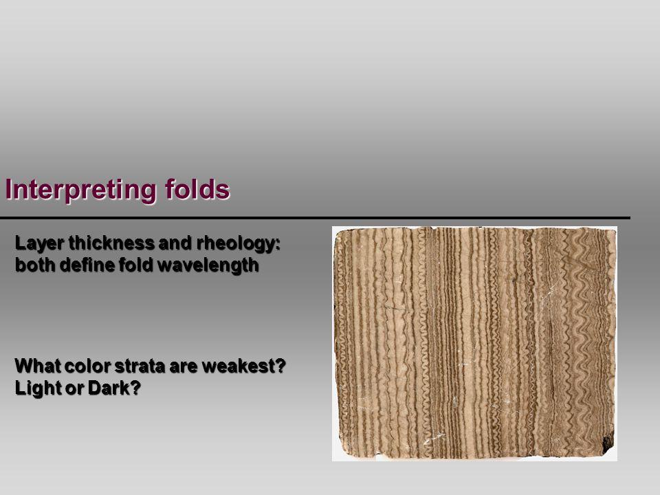 Interpreting folds Layer thickness and rheology: both define fold wavelength.