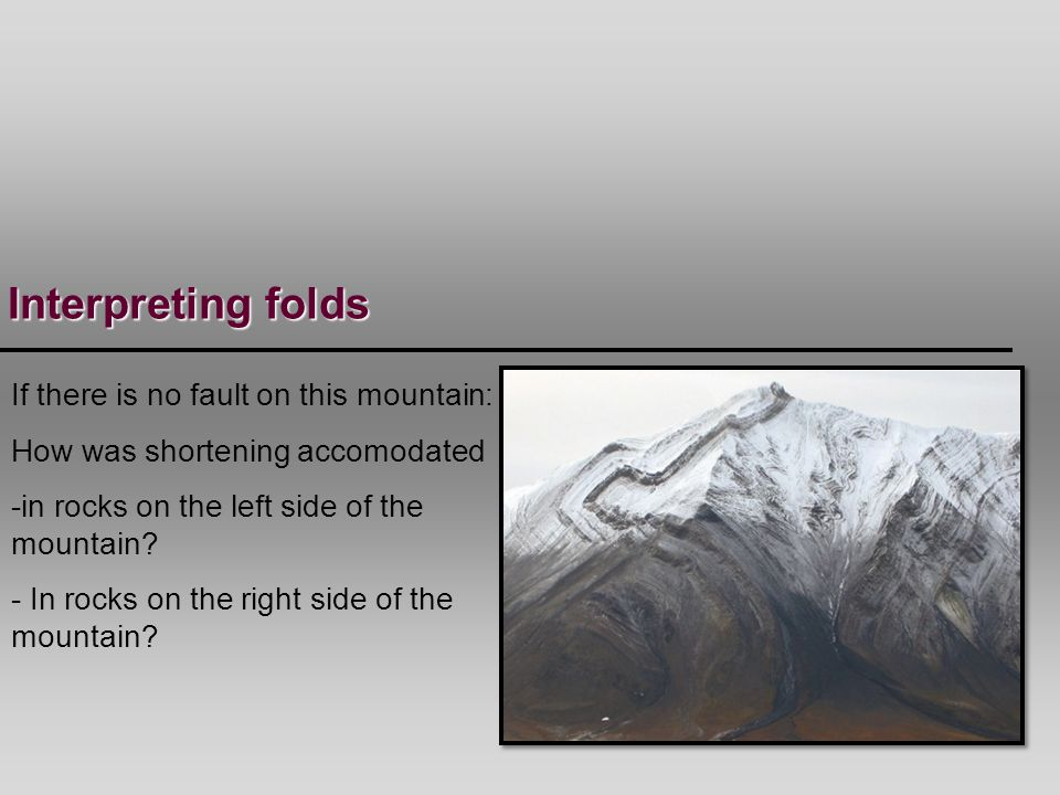 Interpreting folds If there is no fault on this mountain: