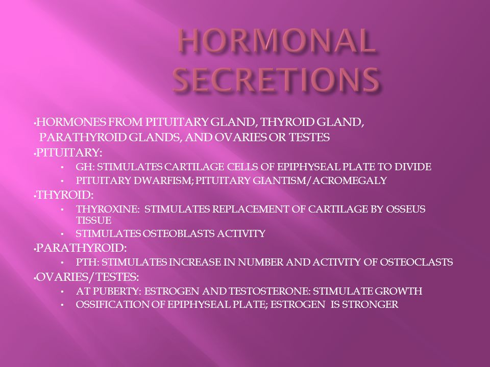 HORMONAL SECRETIONS HORMONES FROM PITUITARY GLAND, THYROID GLAND,