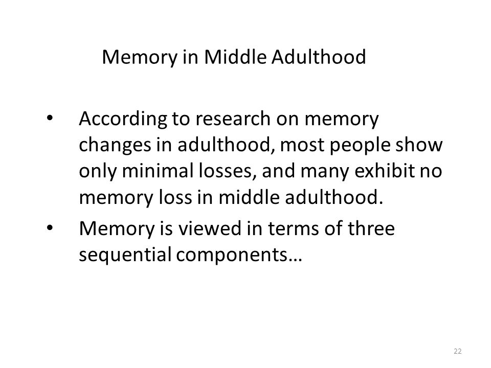 Memory in Middle Adulthood