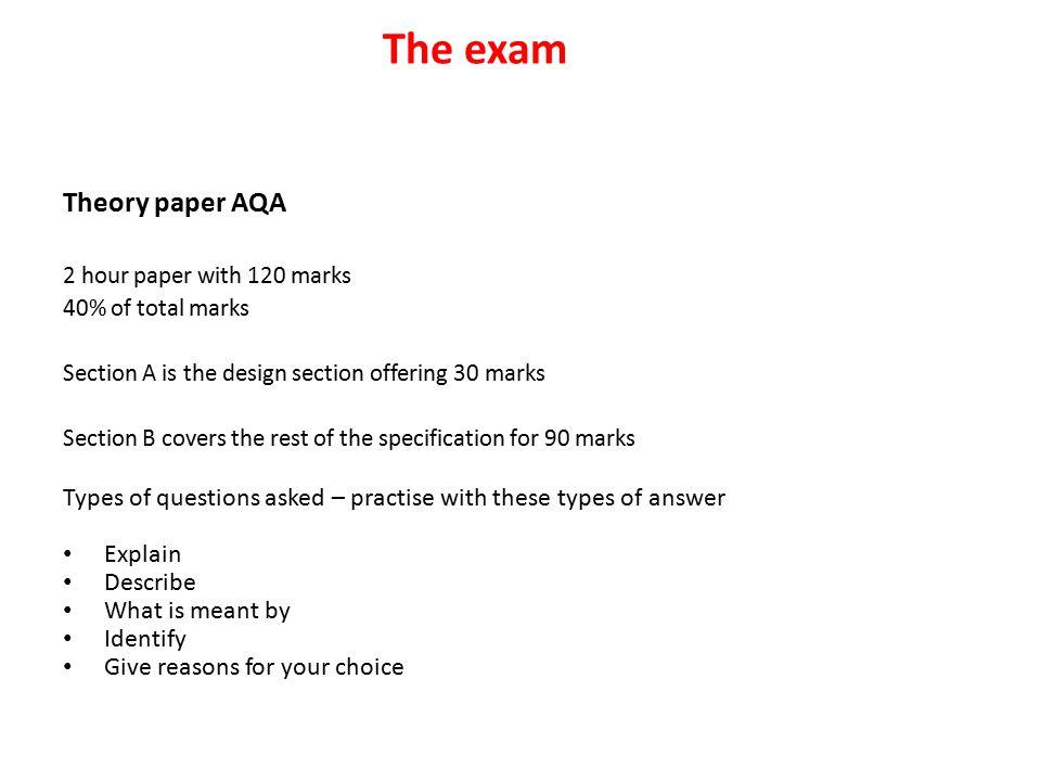 The exam Theory paper AQA