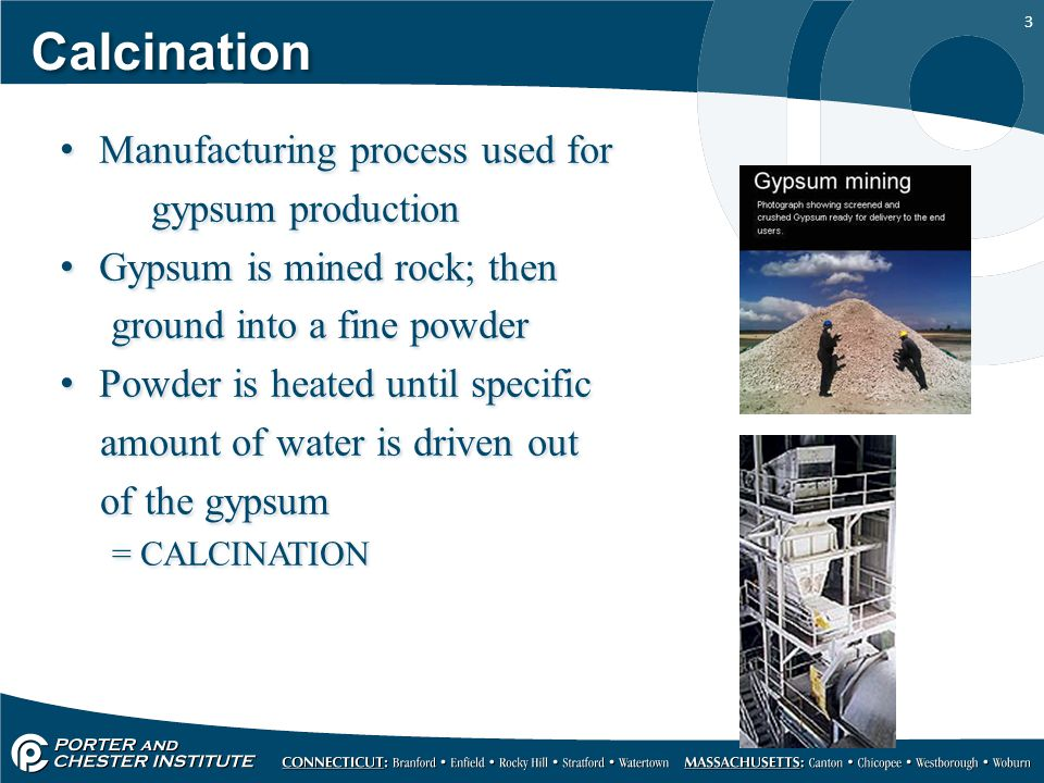 Calcination Manufacturing process used for gypsum production