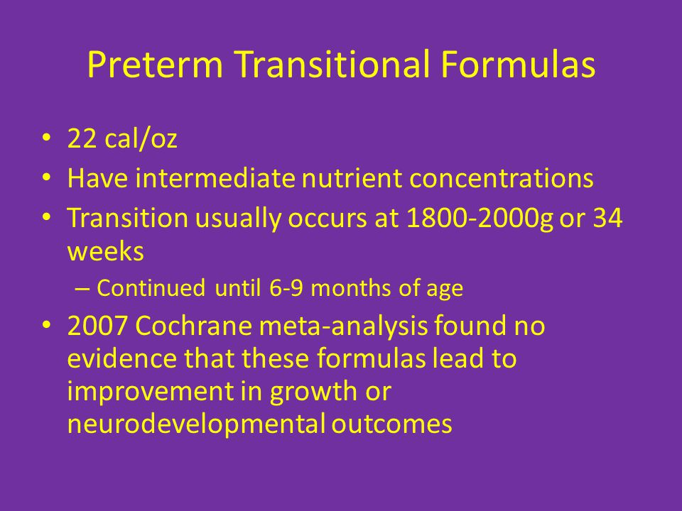 Preterm Transitional Formulas
