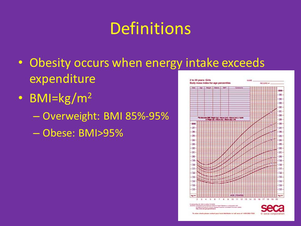 Definitions Obesity occurs when energy intake exceeds expenditure
