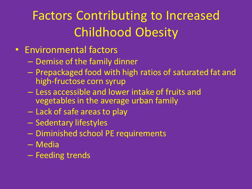Factors Contributing to Increased Childhood Obesity