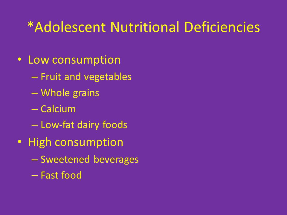 *Adolescent Nutritional Deficiencies