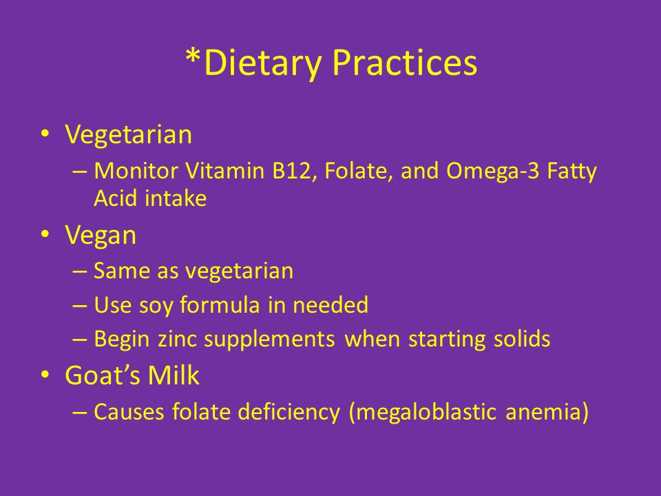 *Dietary Practices Vegetarian Vegan Goat's Milk