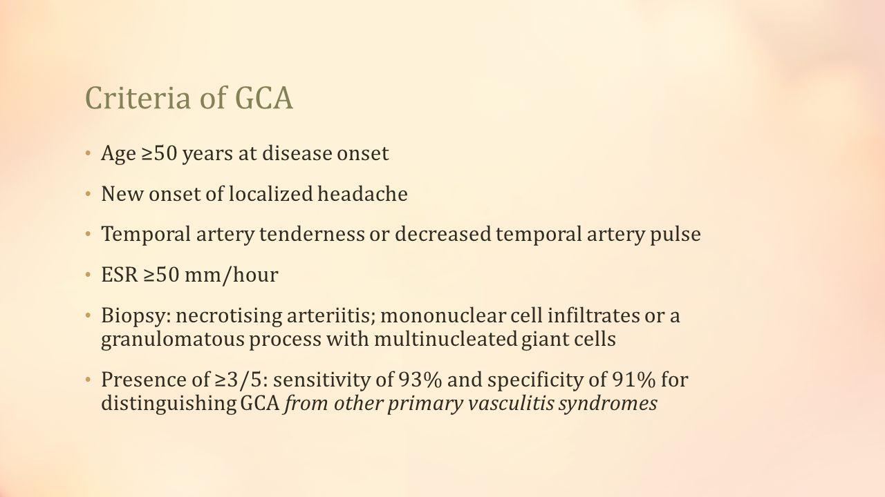 Criteria of GCA Age ≥50 years at disease onset