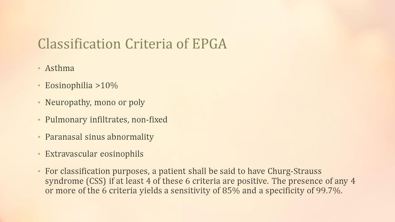 Classification Criteria of EPGA
