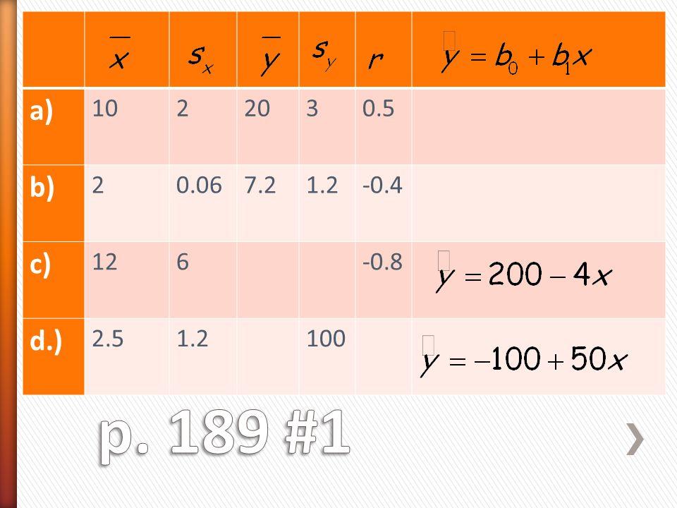 a) 10 2 20 3 0.5 b) 0.06 7.2 1.2 -0.4 c) 12 6 -0.8 d.) 2.5 100 p. 189 #1