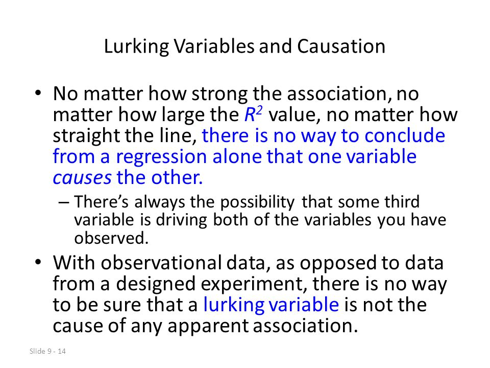 Lurking Variables and Causation