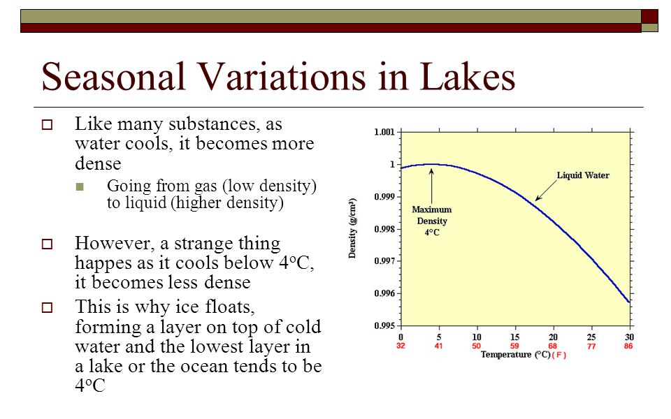 Seasonal Variations in Lakes