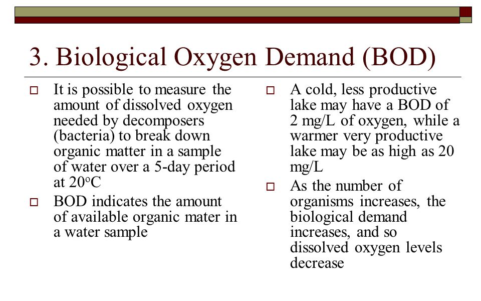 3. Biological Oxygen Demand (BOD)
