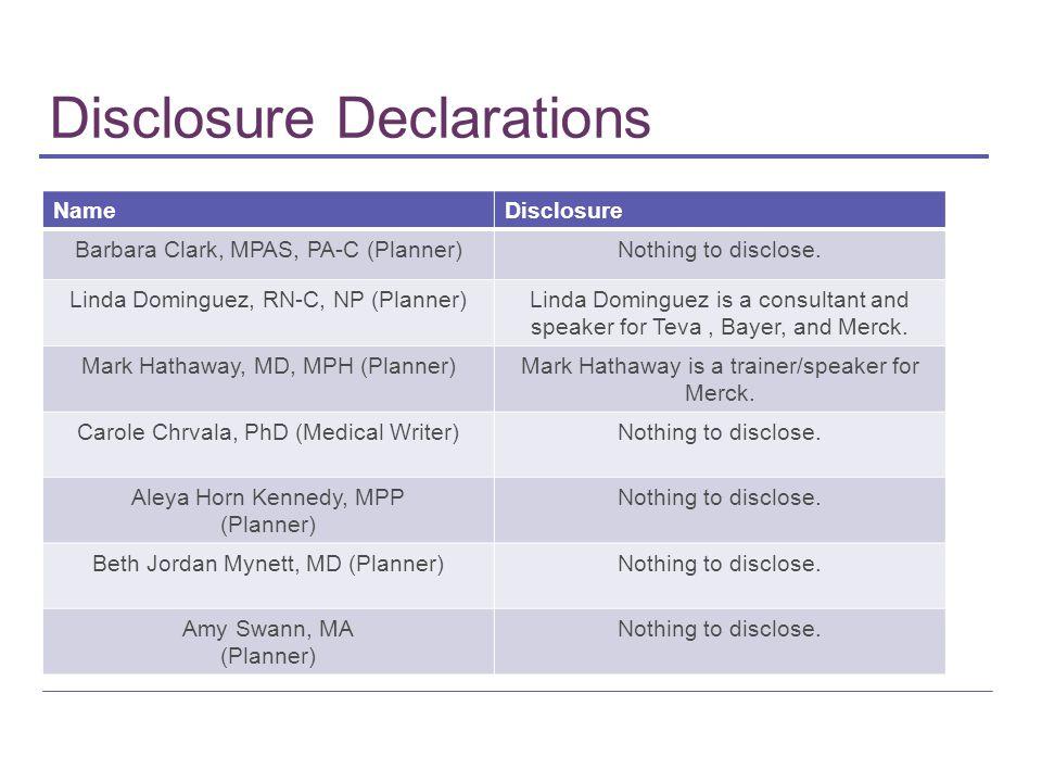 Disclosure Declarations