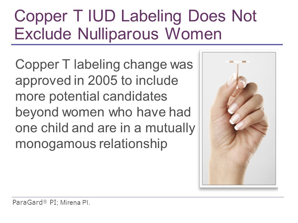 Copper T IUD Labeling Does Not Exclude Nulliparous Women