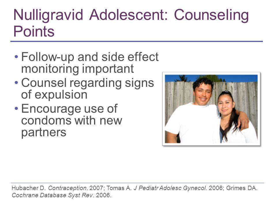 Nulligravid Adolescent: Counseling Points