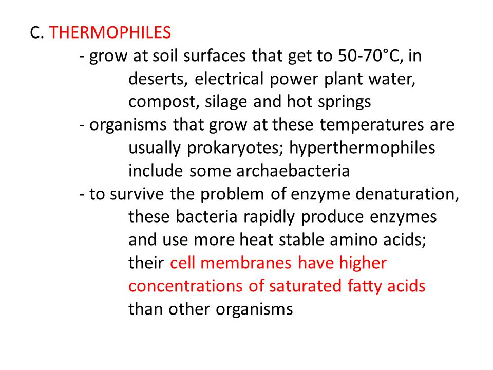 C. THERMOPHILES. - grow at soil surfaces that get to 50-70°C, in