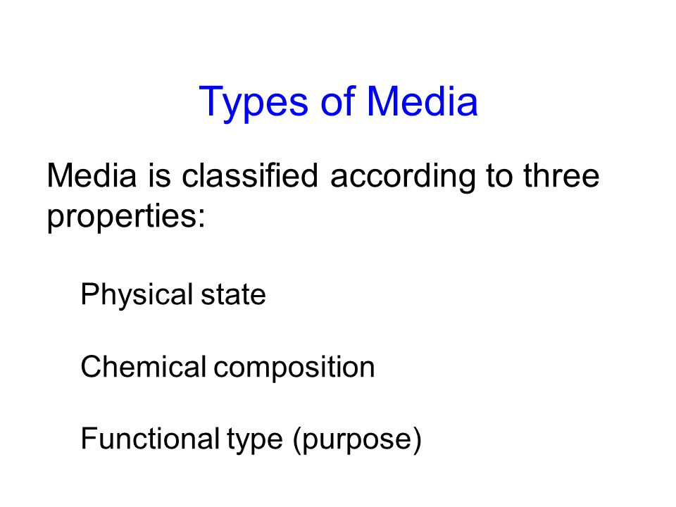 Types of Media Media is classified according to three properties: