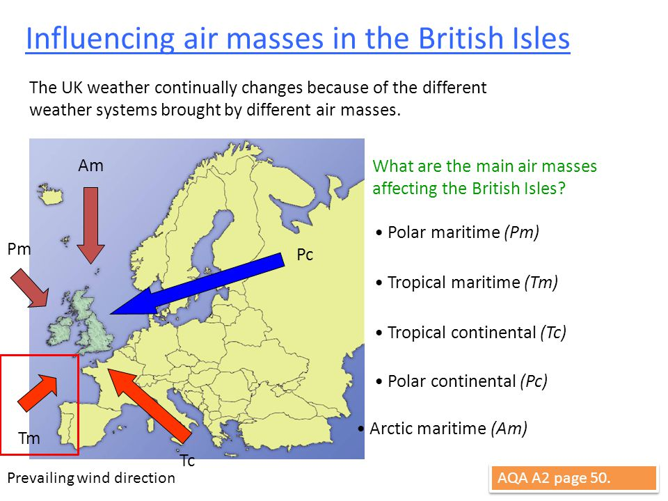 Influencing air masses in the British Isles