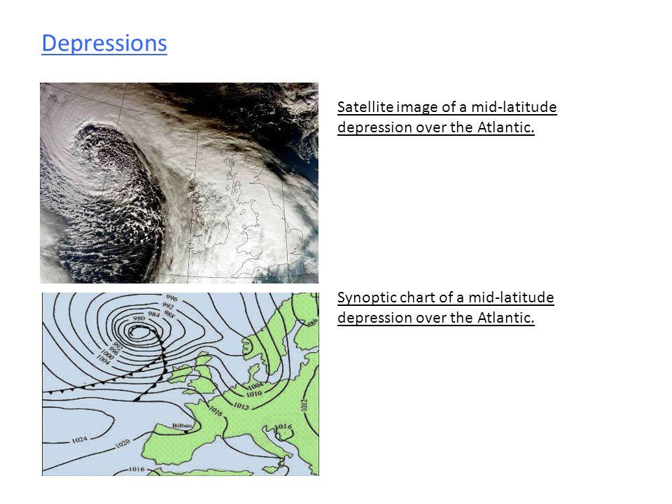 Depressions Satellite image of a mid-latitude depression over the Atlantic.