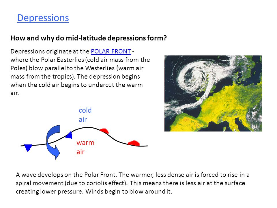 Depressions How and why do mid-latitude depressions form cold air