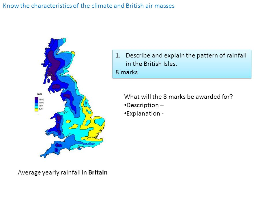 Know the characteristics of the climate and British air masses