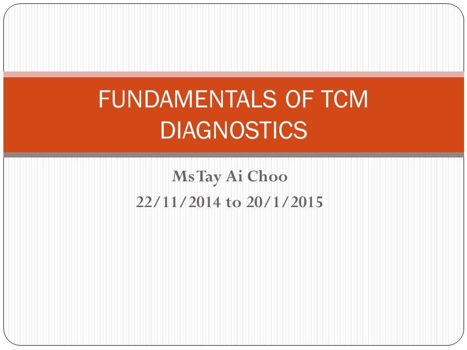 FUNDAMENTALS OF TCM DIAGNOSTICS