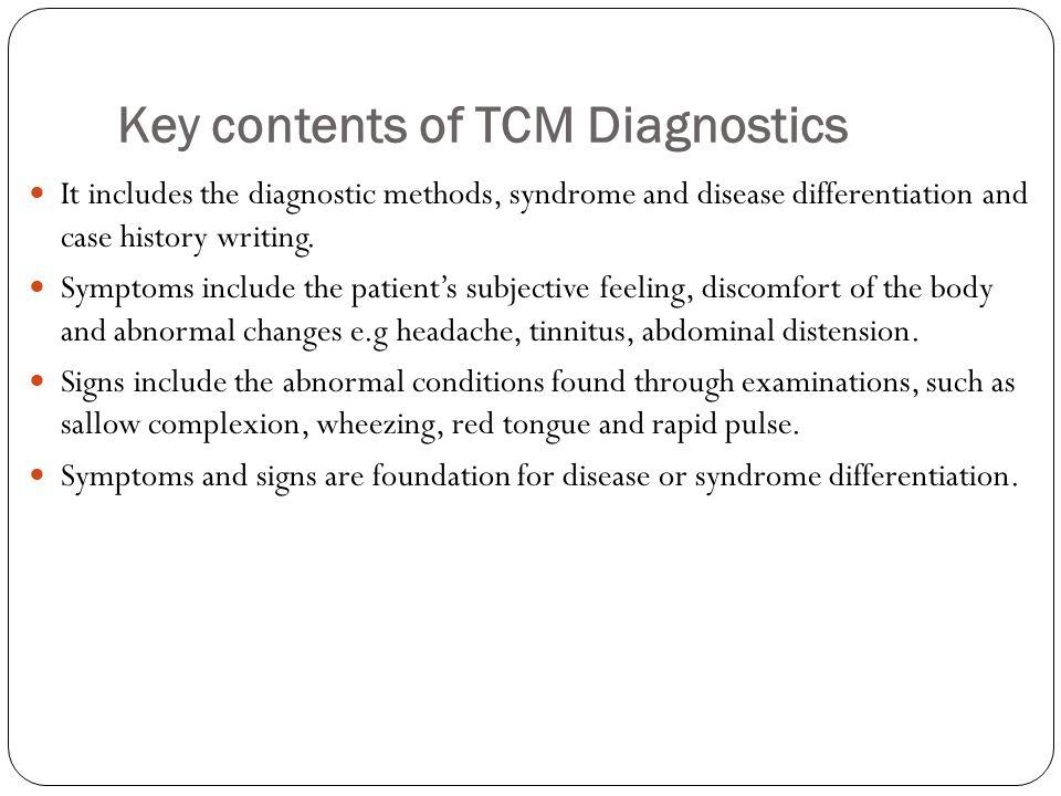 Key contents of TCM Diagnostics