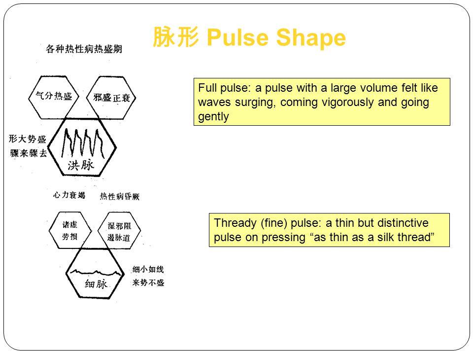 脉形 Pulse Shape Full pulse: a pulse with a large volume felt like waves surging, coming vigorously and going gently.