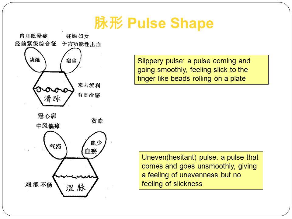 脉形 Pulse Shape Slippery pulse: a pulse coming and going smoothly, feeling slick to the finger like beads rolling on a plate.