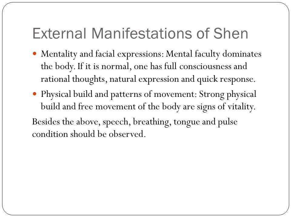 External Manifestations of Shen