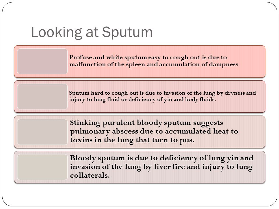 Looking at Sputum Profuse and white sputum easy to cough out is due to malfunction of the spleen and accumulation of dampness.