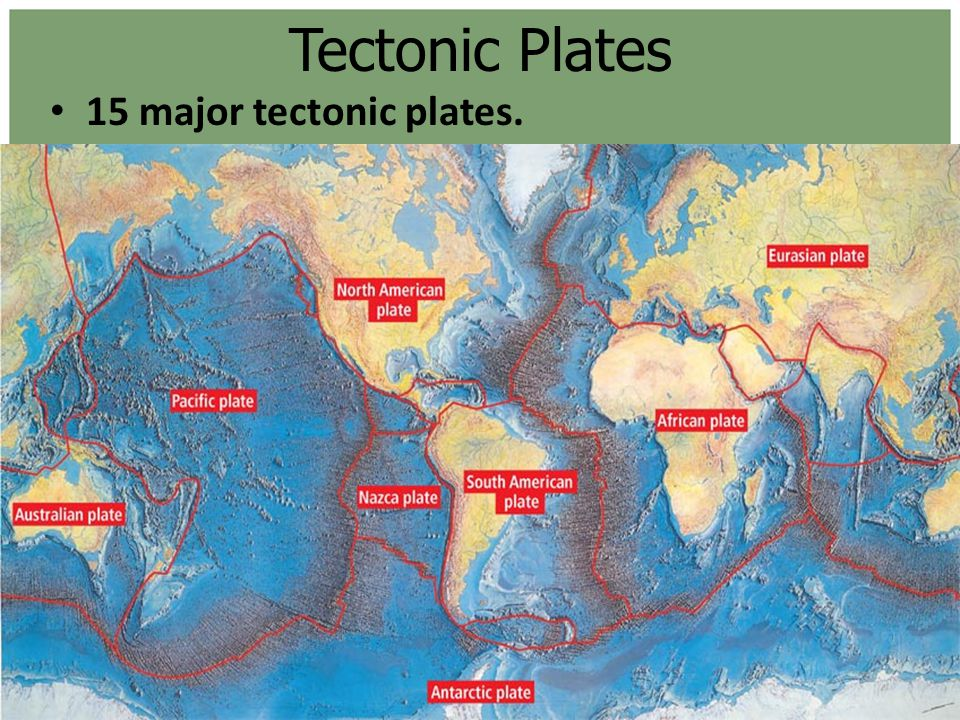 Tectonic Plates 15 major tectonic plates.