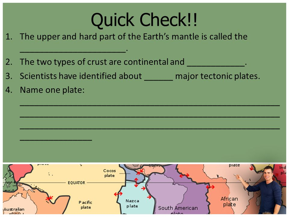 Quick Check!! The upper and hard part of the Earth's mantle is called the ______________________.