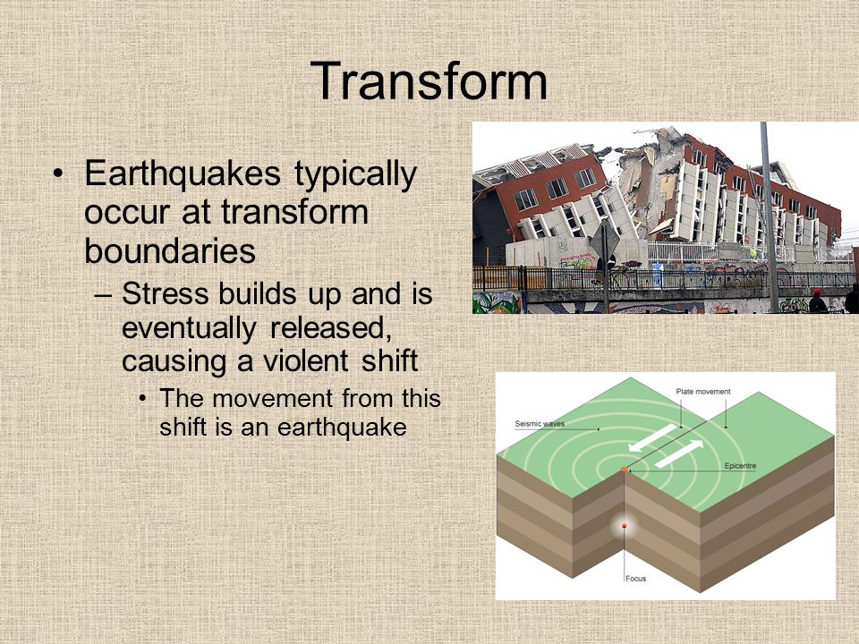 Transform Earthquakes typically occur at transform boundaries