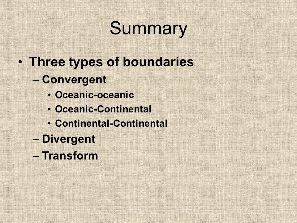 Summary Three types of boundaries Convergent Divergent Transform