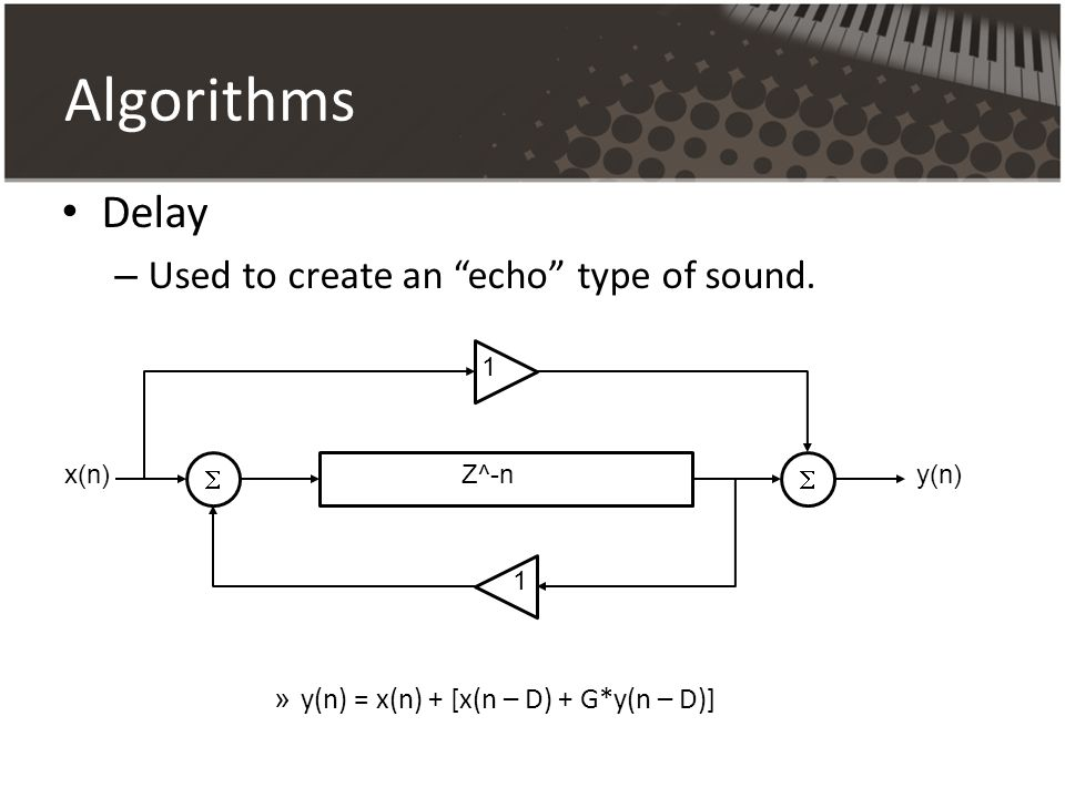 Algorithms Delay Used to create an echo type of sound.