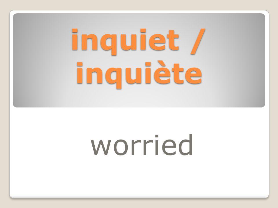 inquiet / inquiète worried