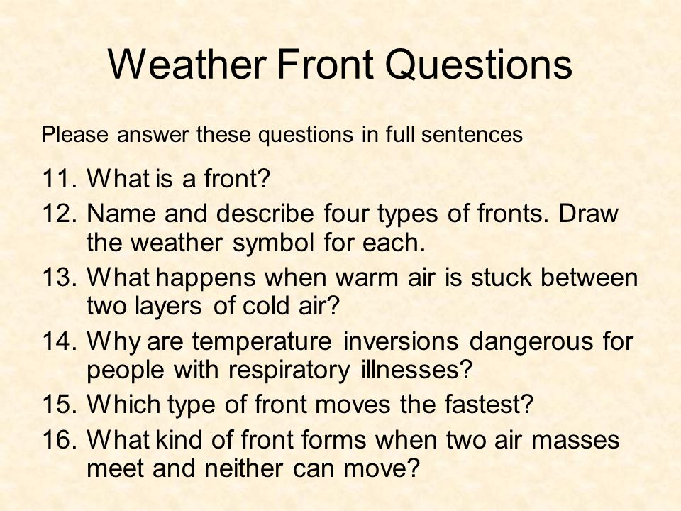 Weather Front Questions