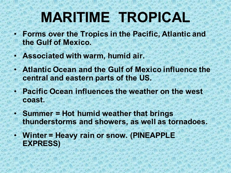 MARITIME TROPICAL Forms over the Tropics in the Pacific, Atlantic and the Gulf of Mexico. Associated with warm, humid air.